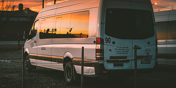 van with sunset